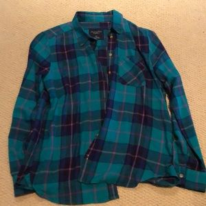 Green, blue, and purple plaid button-up blouse